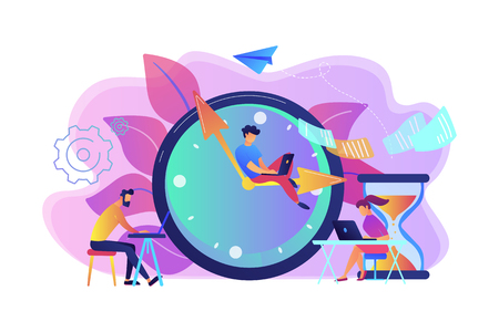 Busy business people with laptops hurry up to complete tasks at huge clock and hourglass. Deadline, project time limit, task due dates concept. Bright vibrant violet vector isolated illustration Illustration