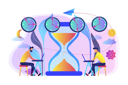 Busy businessmen with laptops near hourglass working in different time zones. Time zones, international time, world business time concept. Bright vibrant violet vector isolated illustration