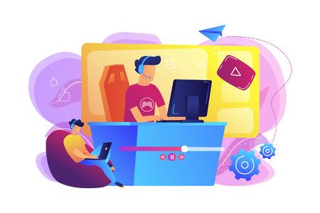 E-sport gamer, reproducción en vivo de videojuegos en línea y visor con computadora portátil. Transmisión de deportes electrónicos, programa de juegos en vivo, concepto de negocio de transmisión en línea. Ilustración aislada de vector violeta vibrante brillante