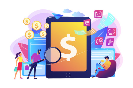 Clients with magnifier get e-invoicing and pay bills online. E-invoicing service, electronic invoicing, e-billing system and e-economy tools concept. Bright vibrant violet vector isolated illustration