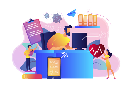 Businessman working at smart desk controlling his heart rate and position change. IOT office desk, health tracking, working activity place concept. Bright vibrant violet vector isolated illustration