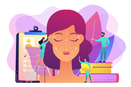 Plastic surgeons working on facelift surgery for woman face with wrinkles. Face lifting, rhytidectomy procedure, facelift surgery concept. Bright vibrant violet vector isolated illustration