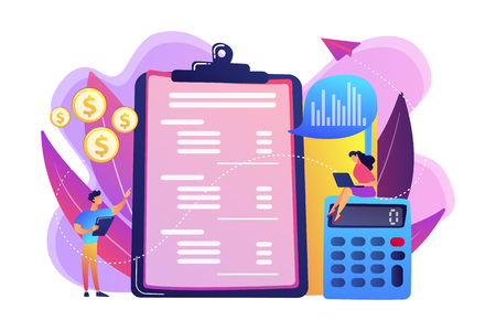 Financial analysts doing income statement with calculator and laptop. Income statement, company financial statement, balance sheet concept. Bright vibrant violet vector isolated illustration