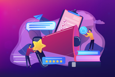 Megaphone and businessmen rate with stars and thumb up icons. Rank and rating scale, high-ranking, top-ranking concept on ultraviolet background. Bright vibrant violet vector isolated illustration