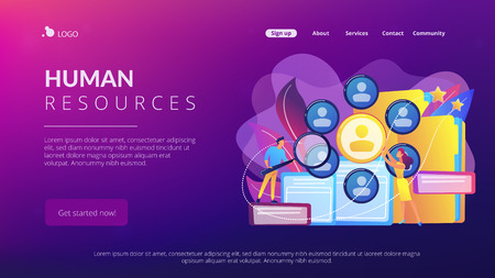 Human resourses managers doing professional staff research with magnifier. Human resources, HR team work and headhunter service concept. Website vibrant violet landing web page template.