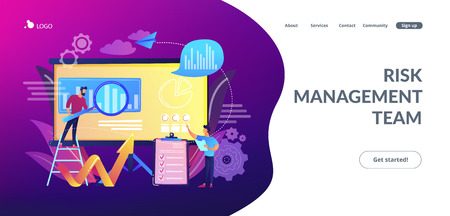 Workgroup admit and identify, measure and prioritize, implement a strategy. Risk management team, risk management training and objective concept. Website vibrant violet landing web page template.