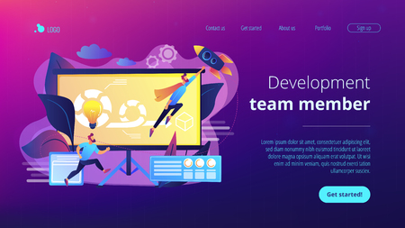 Development team member and scrum master working on Agile project for product ownerand stakeholders. Agile project management concept. Website vibrant violet landing web page template.
