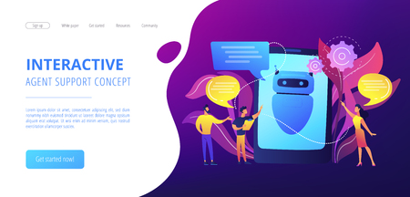 Business people communicate with chatbot application. Chatbot artificial intelligence, talkbots service, interactive agent support concept. Website vibrant violet landing web page template.