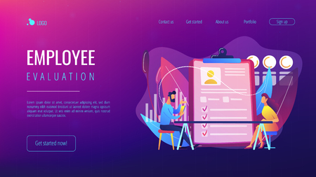 Employer meeting job applicant at pre-employment assessment. Employee evaluation, assessment form and report, performance review concept. Website vibrant violet landing web page template.