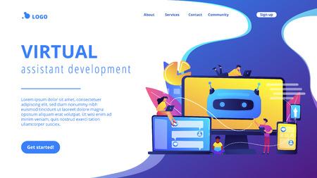 Developers building, testing and deploying chatbots on platforms. Chatbot platform, virtual assistant development, cross-platform chatbot concept. Website vibrant violet landing web page template.