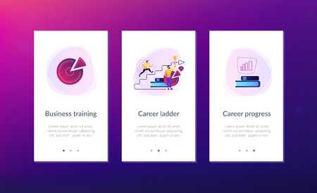 A man running up to the hand drawn stairs as a concept of coaching, business training, goal achievment, success, progress, carreer ladder, violet palette. Mobile UI UX app interface template.
