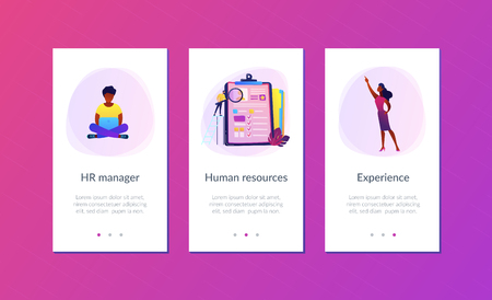 HR managers looking at curriculum vitae of job seeker as a concept of job interview, working experience, recruitment, job application. Violet palette. Mobile UI UX app interface template.