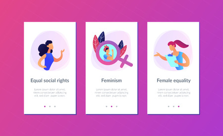 A woman image in female gender sign showing biceps as a concept of feminism, girl power, movement, female equality, equal social and civil rights. Violet palette. Mobile UI UX app interface template.