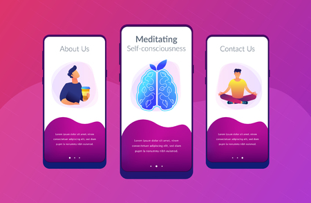 User practicing mindfulness meditation in lotus pose. Calmness and releasing stress concept landing page. Mindful meditating, consciousness and focusing. UI UX GUI app interface template. Ilustração