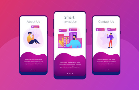 People checking cafe, bar and retail shop rates and ranks with smartphones. Intelligent service systems, smart navigation, IoT and smart city concept, violet palette. App interface template