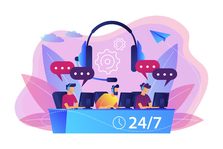 Customer service operators with headsets at computers consulting clients 24 for 7. Call center, handling call system, virtual call center concept. Bright vibrant violet vector isolated illustration Foto de archivo - 112103603