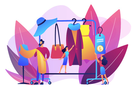 Main master designer creating fashion clothes designs and hanging it on coat rack. Fashion house, clothing design house, fashion production concept. Bright vibrant violet vector isolated illustration