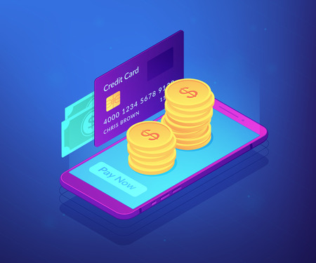 Credit card, banknotes and dollar coins transfer with mobile phone to pay now. Money transfer, digital payment, online cashback service concept. Ultraviolet neon vector isometric 3D illustration.