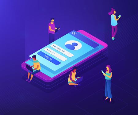 Les utilisateurs d'ordinateurs portables, de tablettes et de smartphones avec une page de connexion se connectent avec leur nom et leur mot de passe. Page de connexion, écran mobile, concept de formulaire de connexion utilisateur. Illustration 3D isométrique de vecteur néon ultraviolet. Vecteurs