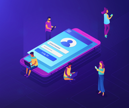 Users with laptops, tablets and smartphone with sign in page log in with name and password. Sign in page, mobile screen, user login form concept. Ultraviolet neon vector isometric 3D illustration.
