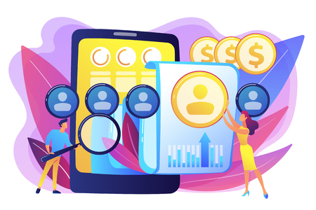 Specialists manage mobile expenses. Mobile expense management, expense management system, mobile device management and mobile network concept. Bright vibrant violet vector isolated illustration