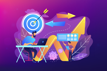 Businessman with laptop, target and arrows. Business direction, strategy and turnaround, change direction campaign concept on ultraviolet background. Bright vibrant violet vector isolated illustration
