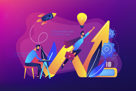 Businessman works and flies like superhero with briefcase. Start up launch, start up venture and entrepreneurship concept on ultraviolet background. Bright vibrant violet vector isolated illustration Illustration