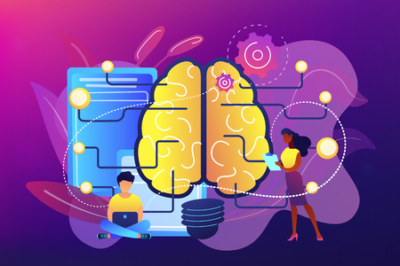 Brain with circuit and programmer. Artificial intelligence, machine learning and data science, cognitive computing concept on ultraviolet background. Bright vibrant violet vector isolated illustration