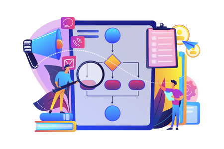 Businessmen with magnifier looking at business process flow chart. Business rules and regulation, main company policy, IT business analysis concept. Bright vibrant violet vector isolated illustration
