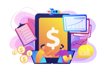 Demand analysts shaking hands from laptops screens and planning future demand. Demand planning, demand analytics, digital sales forecast concept. Bright vibrant violet vector isolated illustration Illustration