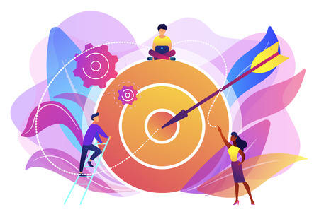 Businessmen working and woman at big target with arrow. Goals and objectives, business grow and plan, goal setting concept on white background. Bright vibrant violet vector isolated illustration Illustration