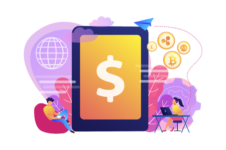 Businessman and woman transfer money with gadgets. Digital currency, cryptocurrency market, e-money transfer and digital money turnover concept. Bright vibrant violet vector isolated illustration