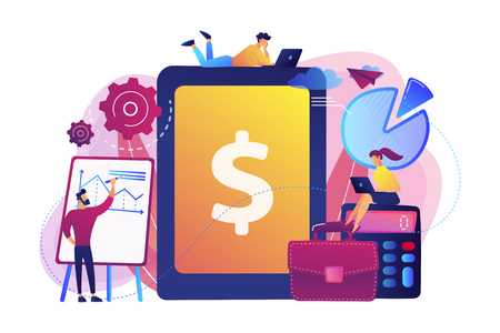 Accountants work with financial transactions software and tablet. Enterprise accounting, IT accounting system, smart enterprise tools concept. Bright vibrant violet vector isolated illustration Vettoriali