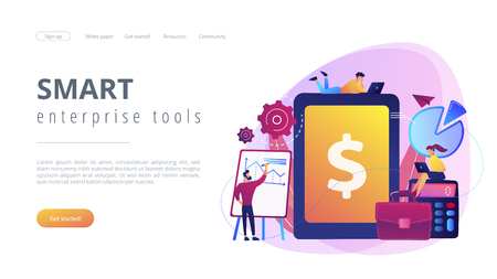 Accountants work with financial transactions software and tablet. Enterprise accounting, IT accounting system, smart enterprise tools concept. Website vibrant violet landing web page template.