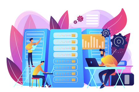 Data scientist, data analytics manager, database developer and administrator working. Big data job, database developers, careers in big data concept. Bright vibrant violet vector isolated illustration Vectores