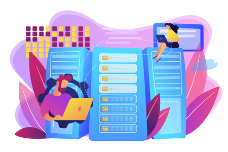 Database analysts with laptops working with data in the center. Big data storage, big data architecture, real-time data analytics concept. Bright vibrant violet vector isolated illustration Illustration