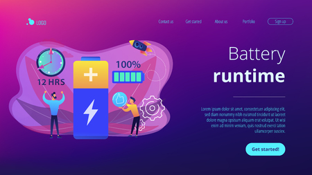 Users and battery performance and longevity with charge indicator and time. Battery runtime, extend runtime technology, long battery life concept. Website vibrant violet landing web page template. Illustration