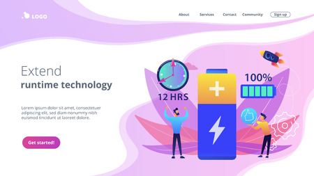 Users and battery performance and longevity with charge indicator and time. Battery runtime, extend runtime technology, long battery life concept. Website vibrant violet landing web page template. Çizim