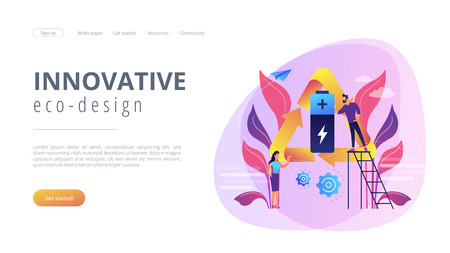 Businessman and woman using battery in recycle symbol. Eco battery, environmentally friendly battery, innovative eco-design concept. Website vibrant violet landing web page template.