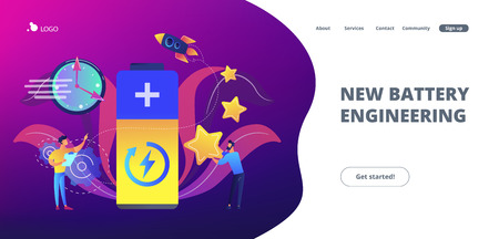 Engineers with battery charging and stars with rocket. Fast charging technology, fast-charge batteries, new battery engineering concept. Website vibrant violet landing web page template. Illustration