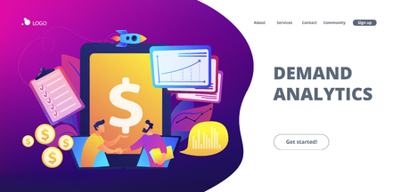 Demand analysts shaking hands from laptops screens and planning future demand. Demand planning, demand analytics, digital sales forecast concept. Website vibrant violet landing web page template.