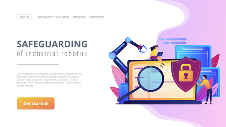 Developers, robot work at laptop with magnifier. Industrial cybersecurity, industrial robotics malware, safeguarding of industrial robotics concept. Website vibrant violet landing web page template. Illustration