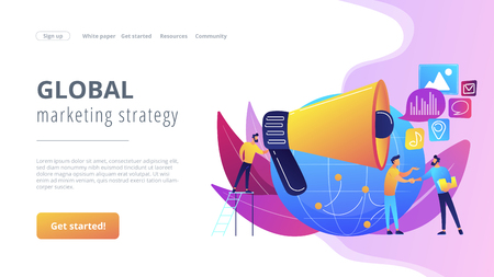 Marketing specialist with loudspeaker influence businessmen and globe. Macromarketing, social influence, global marketing strategy concept. Website vibrant violet landing web page template. Illustration