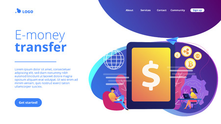 Businessman and woman transfer money with gadgets. Digital currency, cryptocurrency market, e-money transfer and digital money turnover concept. Website vibrant violet landing web page template.