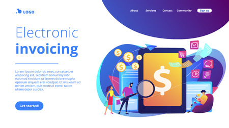 Clients with magnifier get e-invoicing and pay bills online. E-invoicing service, electronic invoicing, e-billing system and e-economy tools concept. Website vibrant violet landing web page template.