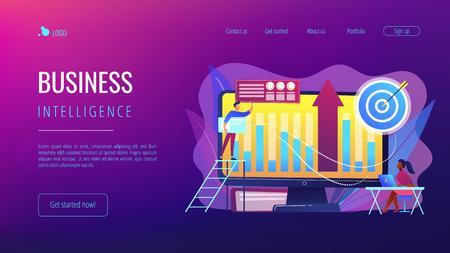 Business intelligence experts transform data into useful information. Business intelligence, business analysis, IT management tools concept. Website vibrant violet landing web page template.