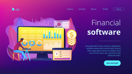 Data analyst consolidating financial information and reports on computer. Financial data management, financial software, digital data report concept. Website vibrant violet landing web page template. Illustration