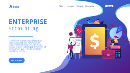 Accountants work with financial transactions software and tablet. Enterprise accounting, IT accounting system, smart enterprise tools concept. Website vibrant violet landing web page template. Illustration