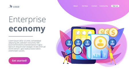 Specialists manage mobile expenses. Mobile expense management, expense management system, mobile device management and mobile network concept. Website vibrant violet landing web page template.