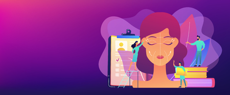 Plastic surgeons working on facelift surgery for woman face with wrinkles. Face lifting, rhytidectomy procedure, facelift surgery concept. Header or footer banner template with copy space. Ilustrace